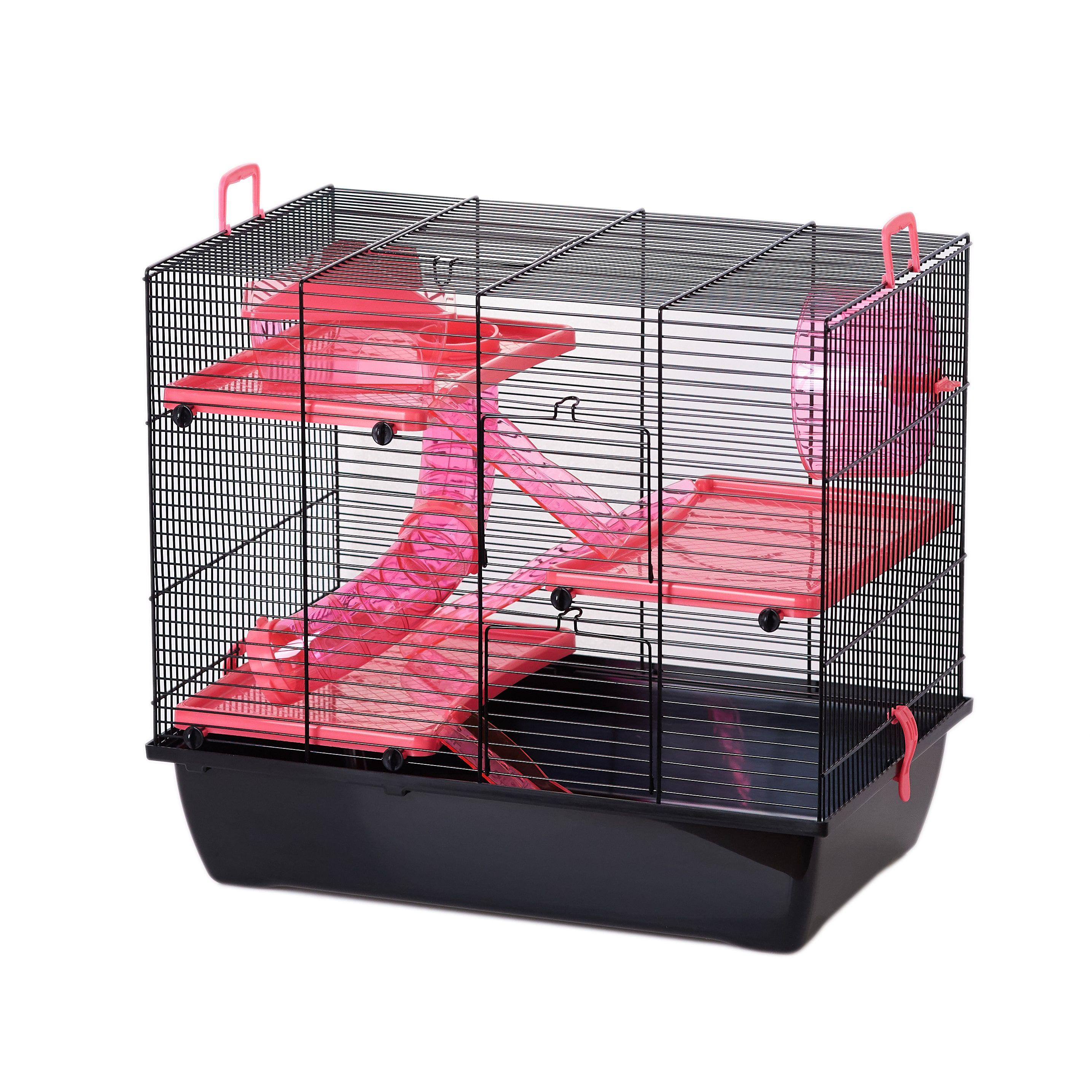 Hamsterkooi Delin Flamingo - Roze/Zwart - 50 x 33 x 45.5 cm