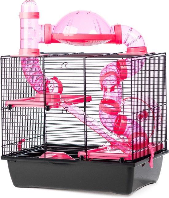 Petstar Hamsterkooi Daisy - Zwart/Roze - 43 x 28 x 38,5 cm
