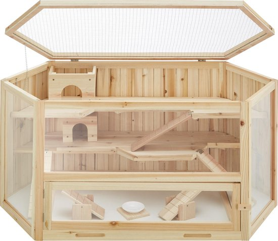 Tectake Houten Hamsterkooi - 115 x 60 x 58 cm
