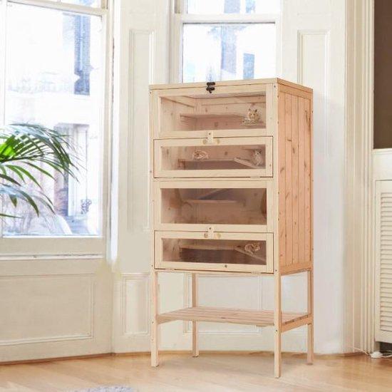XL Houten Hamsterkooi voor Binnen - 4 Verdiepingen - 60 x 40 x 120 cm