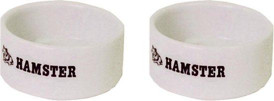 Eetbak voor hamsters 6cm wit per 2 stuks